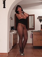 Sexy babe is topless and wrapped in black pantyhose - Granny Classic